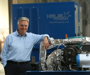 Professor Dan Wright, chief executive of Heliex Power. He is pictured at the firms base in East Kilbride. In the background is a HP145 160Kw steam generator set that the firm manufactures.  For Herald Business, see story by Mark Williamson     Photograph by Colin Mearns 30 September 2015
