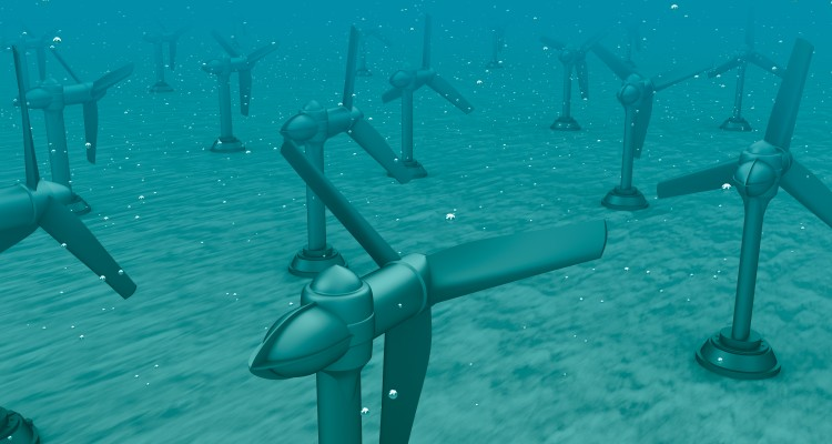 Tidal wave turbines on the bottom of the sea.