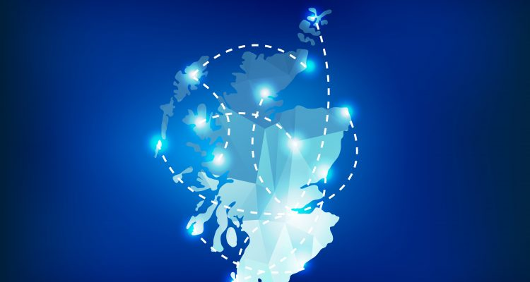 Scotland country map polygonal with spot lights places