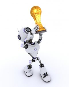 3D Render of a Robot lifting football trophy