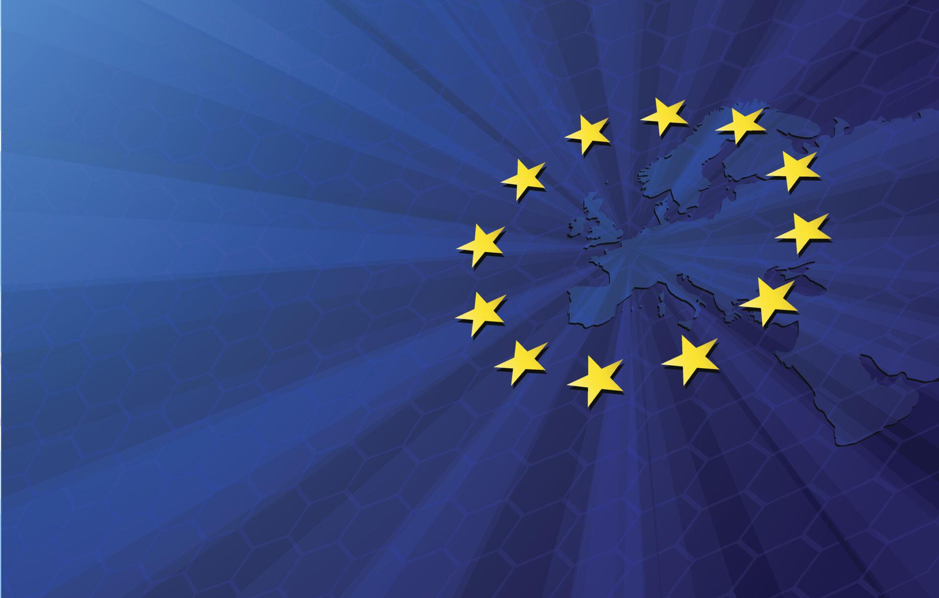 circular Europe flag on map