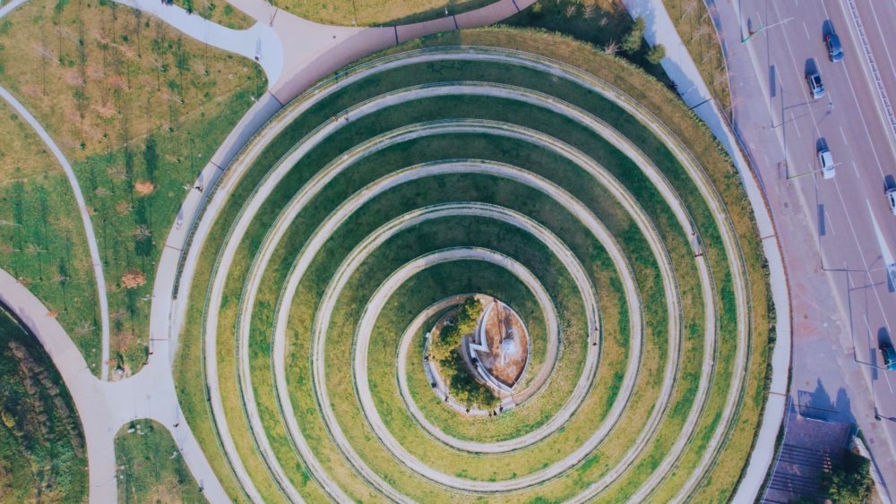 circle grass space in city
